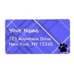 Plaid Paw Print Label