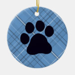 Plaid Paw Print Double-Sided Ceramic Round Christmas Ornament