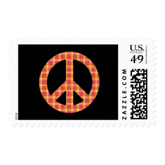Plaid Peace Sign Postage Stamp