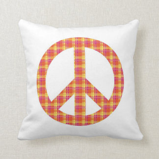 Plaid Peace Sign Throw Pillow