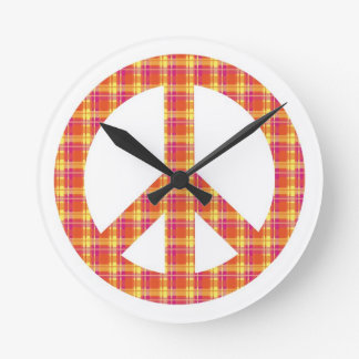 Plaid Peace Sign Wall Clock