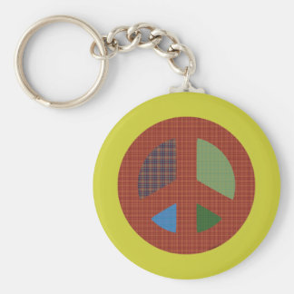 Plaid Peace Symbol Keychain