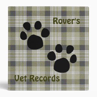 Plaid pet records binder