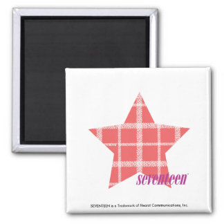 Plaid Pink 3 2 Inch Square Magnet
