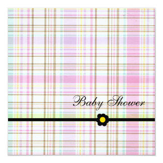 Plaid Pink-Baby Shower Girl Invitation