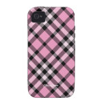 Plaid Pink Black Case Mate iPhone 4/4S Cases