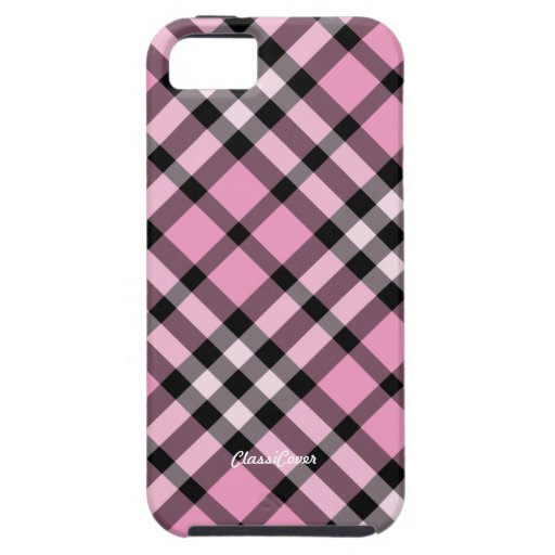Plaid Pink Black Case Mate iPhone 5 Cover