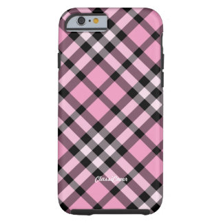 Plaid Pink Black Tough iPhone 6 Case