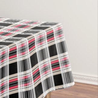 plaid pink black white tablecloth