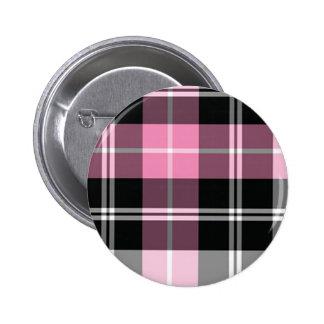 Plaid pink 2 inch round button