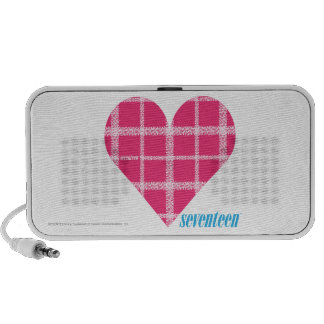 Plaid Pink Heart Mp3 Speakers