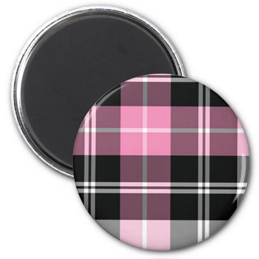 Plaid pink magnet