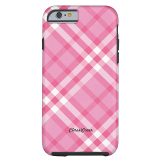 Plaid Pink Peppermint Tough iPhone 6 Case