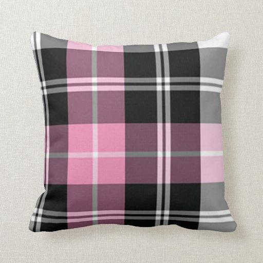 Plaid pink throw pillow