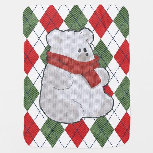Plaid Polar Bear Ugly Christmas Sweater Baby Blanket