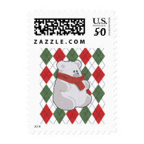 Plaid Polar Bear Ugly Christmas Sweater Postage