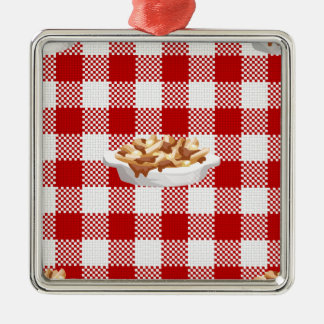 plaid poutine metal ornament