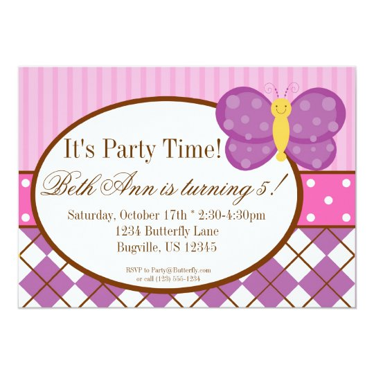 Plaid Purple Butterfly Birthday Party Invitation