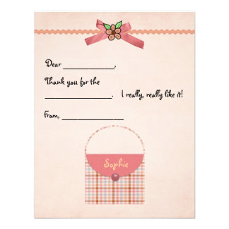 Plaid Purse Fill-in Thank You Card Custom Announcement