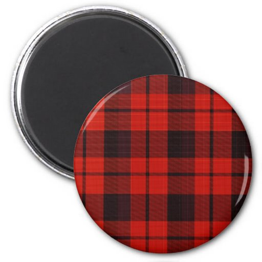 Plaid - Red 2 Inch Round Magnet