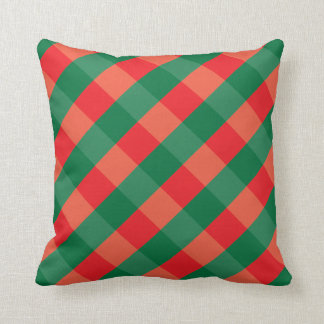 Plaid Red and Green Print Throw Pillow