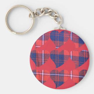Plaid red hearts keychain