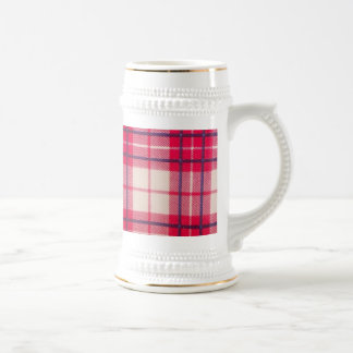 Plaid Red White Beer Stein