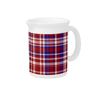 Plaid,Red,White,Blue Coll. 01-Porcelain Pitcher