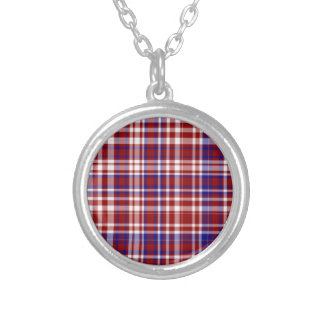 Plaid,Red,White,Blue Coll. 01-Round Necklace