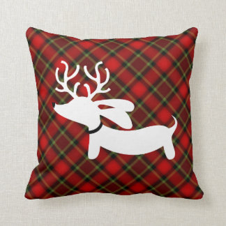 Plaid Reindeer Dachshund Throw Pillow