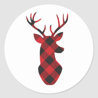Plaid reindeer stickers