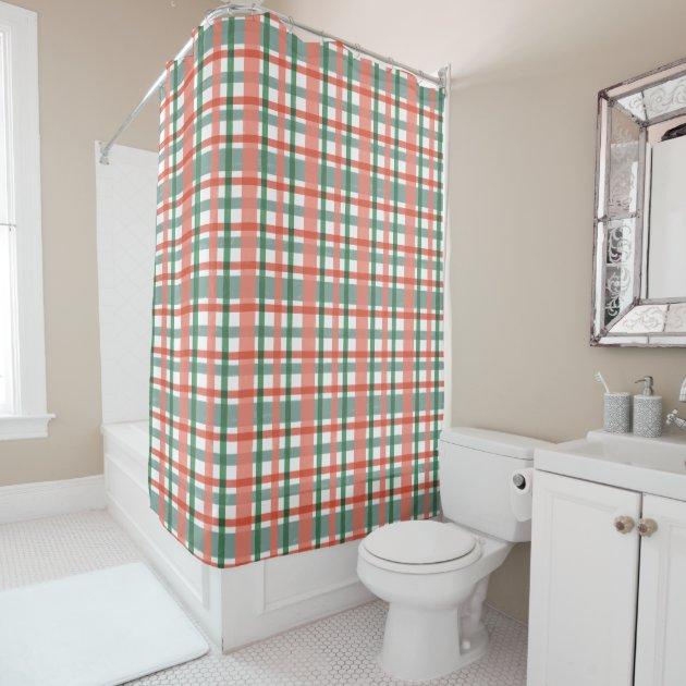 Plaid Retro 50s Mid Century Modern Pink Blue Green Shower Curtain Zazzle Com