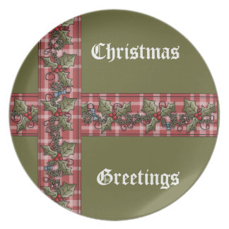 Plaid Ribbon Holly Red Berries Christmas Plate