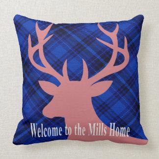 Plaid Rustic Deer Head Silhouette | mauve blue Throw Pillows