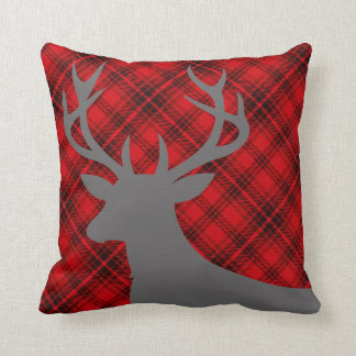 Plaid Rustic Deer Head Silhouette | red Throw Pillow