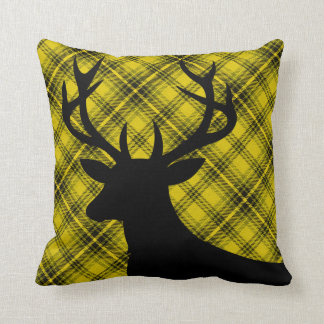 Plaid Rustic Deer Head Silhouette | yellow Pillow