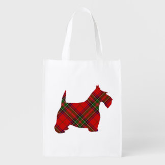 Plaid Scottie Dog Grocery Bag