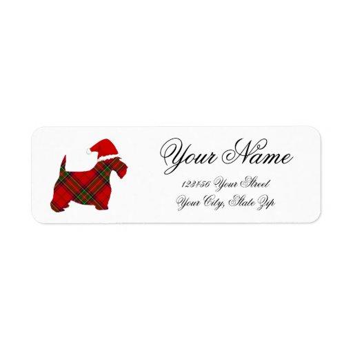 Plaid Scottie Santa Return Address Label