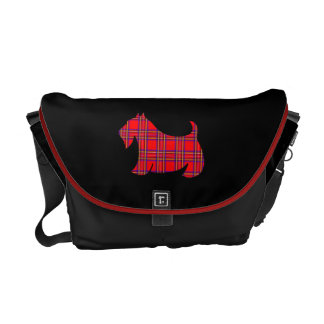 Plaid Scottish Terrier Messenger Travel Bag Gift