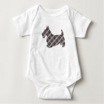Plaid Scottish Terrier Scotty Dog Baby Bodysuit