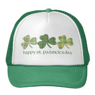 Plaid Shamrocks St. Pat's Day Tees and Gifts Mesh Hats