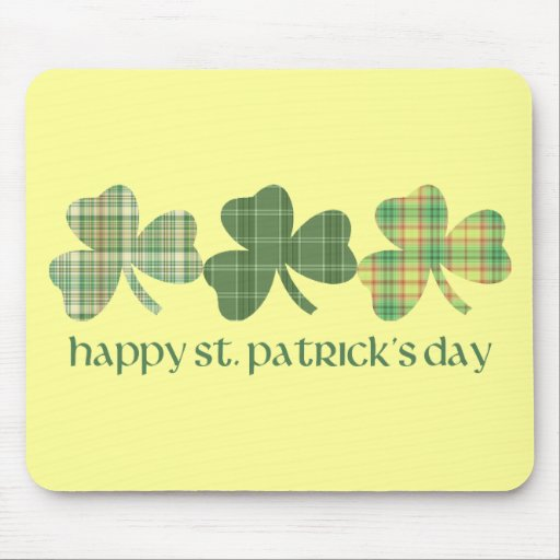 Plaid Shamrocks St. Pat's Day Tees and Gifts Mouse Mat