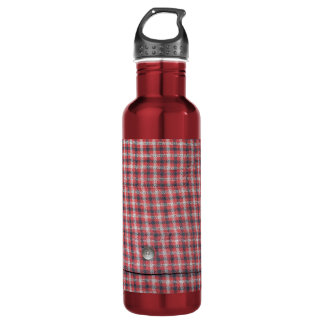 Plaid Shirt Fabric Stainless Steel Water Bottle