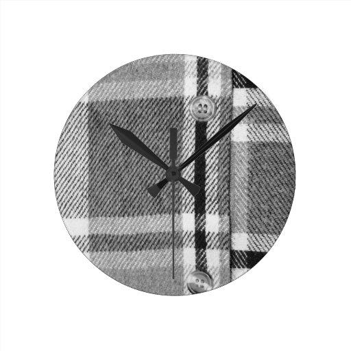 Plaid Shirt / Flannel Shirt pattern Round Wall Clock