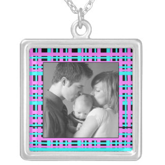 Plaid Silver Plated Necklace