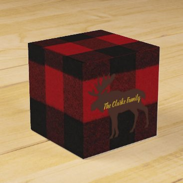 Beach Themed Plaid Ski Lodge Moose Holiday Party Favor Boxes