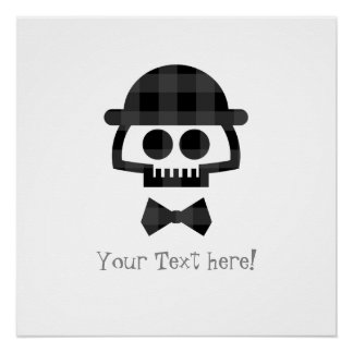 Plaid Skull with Bolo and Bowtie Poster