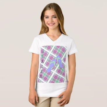 Beach Themed Plaid Summer Flip Flops T-Shirt