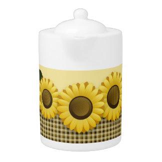 Plaid Sunflower Medium Teapot