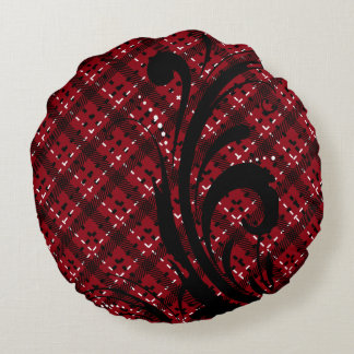 Plaid Swirly Pattern | Changeable Background Round Pillow